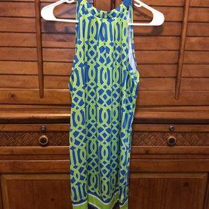Mud Pie Blue & Green Halter Dress